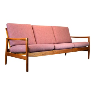 Hans Olsen for Juul Kristensen Teak Framed Wool Sofa