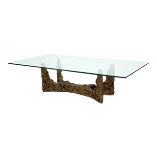 Heavy Cast Metal Brutalist Style Base and Glass-Top Coffee Table by Evans