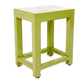Lacquered Elmwood Green Side Stool Table