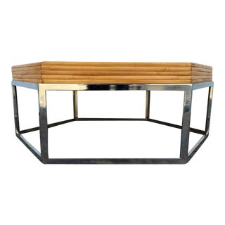 Hexagonal Rattan and Chrome Coffee Table