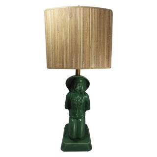 Mid Century Asian Figurine Accent Lamp