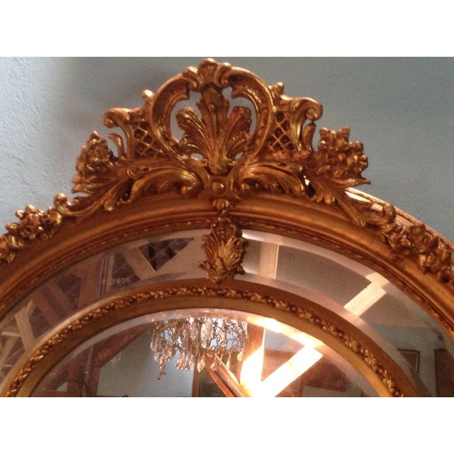 Antique French Louis XVI Gilded Wood Oval Mirror - Image 6 of 6