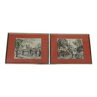 Mid-Century French Watercolor Paintings - A Pair