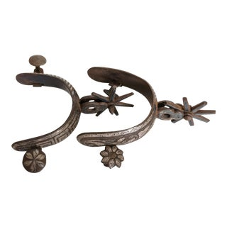 Vintage Mexican Inlaid Spurs - A Pair