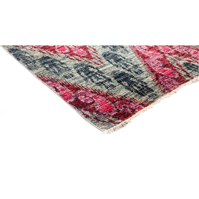 Ikat, Hand Knotted Pink Chevron Wool Area Rug