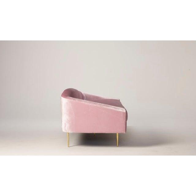 Mid-Century Modern Pink Velvet Sofa - Image 3 of 6