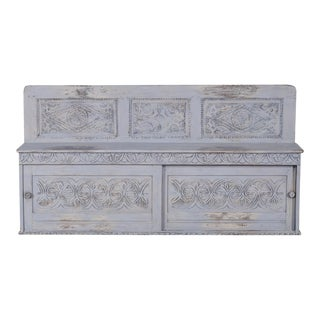 Antique English Jacobean Style Carved and Painted Hall Settle, Sliding Storage Doors, circa 1850
