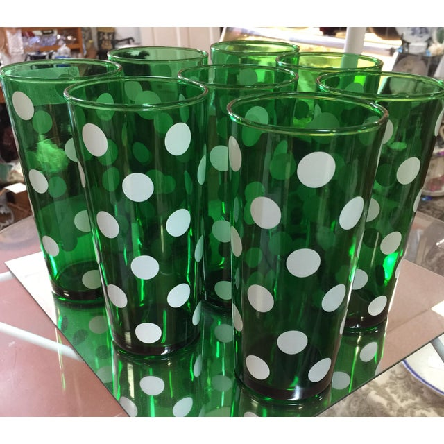 1950's Dark Green Polka Dot 20 oz. Tumblers - Set of 8 - Image 2 of 3