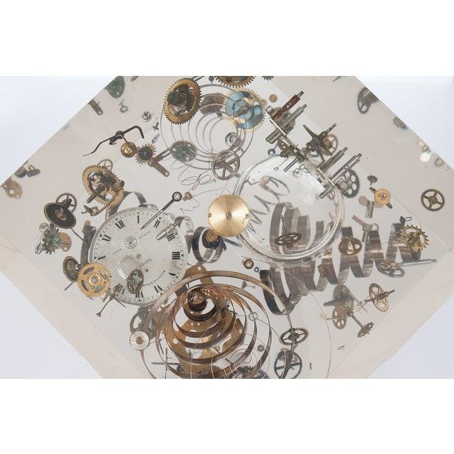 Image of Huge Lucite Cube Sculpture Clock Pierre Giraudon