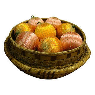 Vintage Spun Satin Ornaments in Antique Baskets