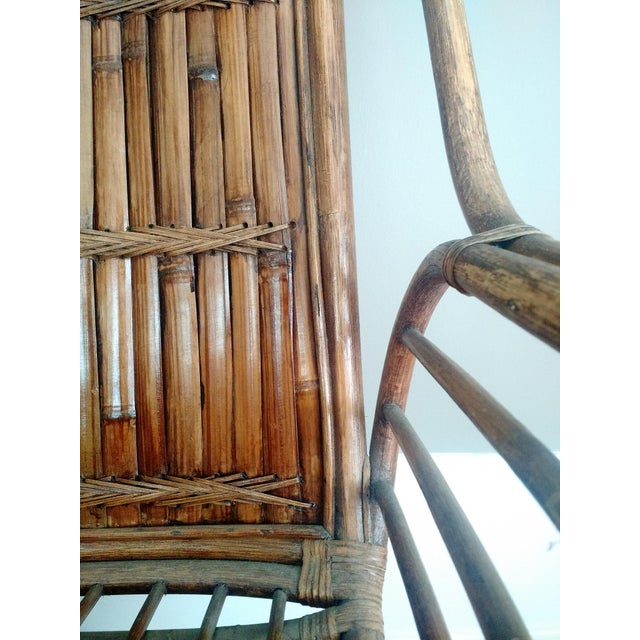 Vintage High-Back Bamboo Lounge Chair - Image 7 of 8