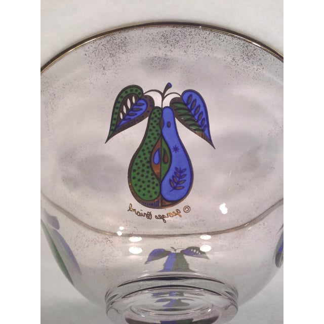 Image of Georges Briard Fruit Motif Glass Bowl