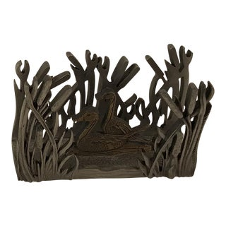 Duck in Wetlands Pewter Business Card Holder
