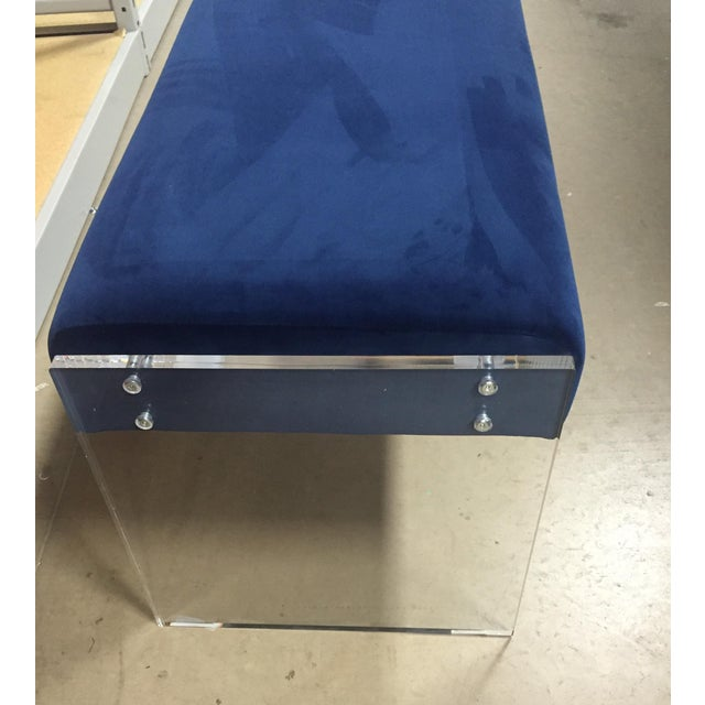 Image of Navy Blue Velvet Bench Ottoman With Lucite Base