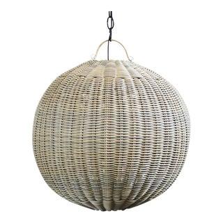 Medium Faux Rattan Globe Lantern