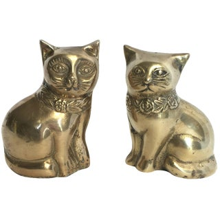 Mid-Century Brass Cat Bookends - A Pair