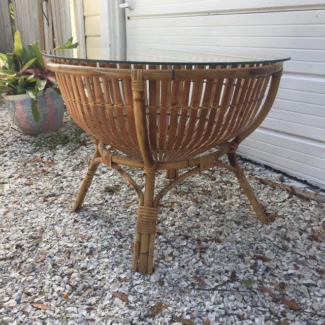 Vintage Rattan Fish Basket Coffee / Side Table - Image 5 of 6