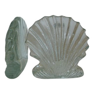 Blenko Glass Shell Bookends - Pair