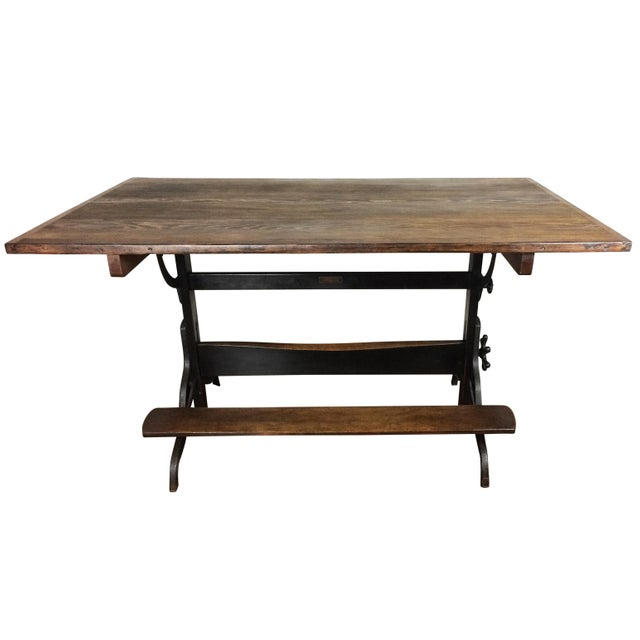 Large Antique Cast Iron & Wood Drafting Table, 1910s - 1920s - Image 2 of 5