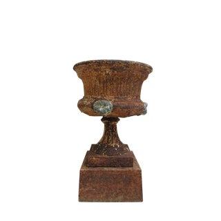 Antique Victorian Cast Iron Planter Urn & Pedestal - a Pair