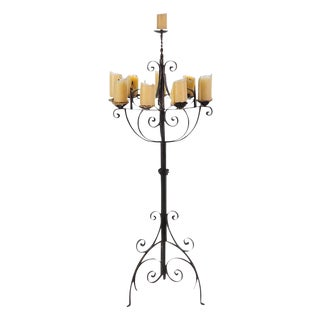 Spanish Revival Wrought Iron 8 Arm Candle Holder