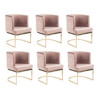 Modern Blush Velvet & Gold Circular Accent Chairs - Set of 6