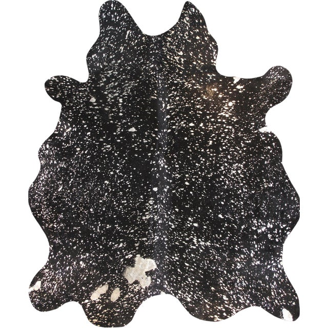 "Black Cowhide Rug- 5'10"" X 7'4"" - Image 1 of 4"