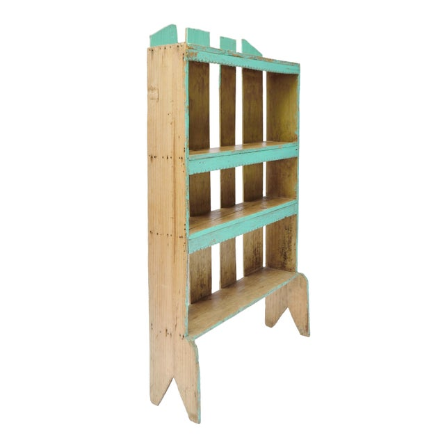 Image of Vintage Polychrome Wood Turquoise Mexican Bookcase