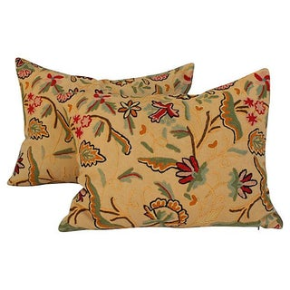 English Crewelwork Floral Pillows - A Pair