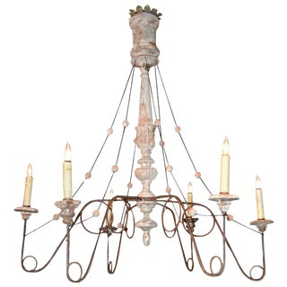 19th Century Italian Iron & Wood Chandelier