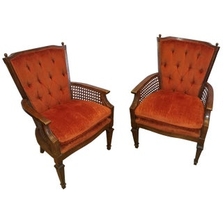 Vintage Lewittes Cane Accent Chairs - A Pair