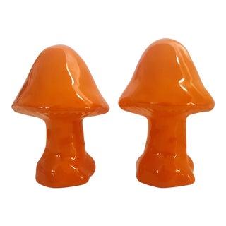 Set of 2- Mid Century Modern Tangerine Orange Glazed Ceramic Mushrooms