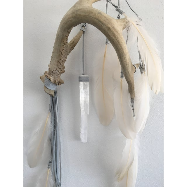 Image of Selenite & Cream Feathers Antler Wall Hanging