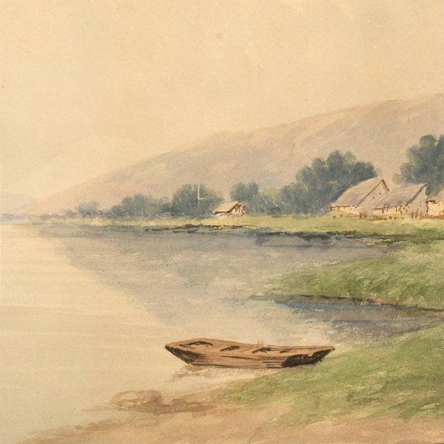 Lakeside Village Watercolor, Circa 1900 - Image 4 of 6