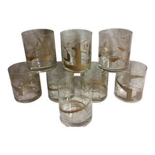 Modernist Architecture Double Old Fashioned Glasses- Set of 8