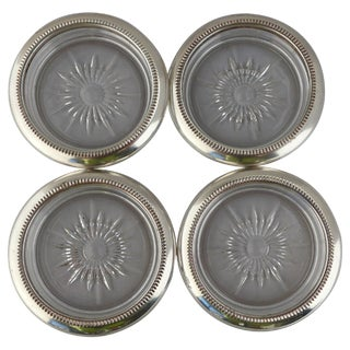 "Mid-Century Silver Plated and Glass Coasters ""Italy"" - Set of 4"