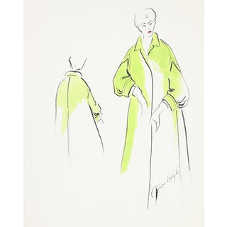 1950s Chartreuse Coat Fashion Illustration