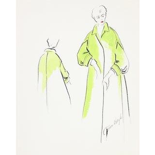 1950s Chartreuse Coat Fashion Illustration