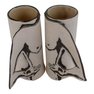 Vintage Studio Pottery Naked Female Espresso Cups - a Pair