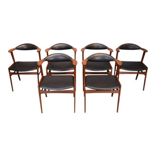 Erik Kirkegaard Danish Teak and Leather 'Bullhorn' Dining Chairs - Set of 6