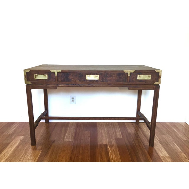 Asian Style Burl Drawers Campaign Desk - Image 3 of 8