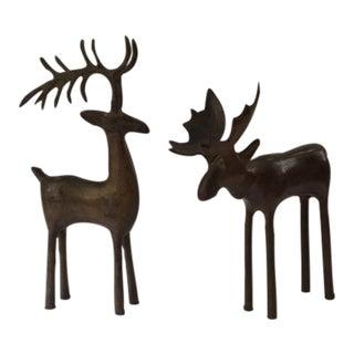 Rustic Woodland Deer & Moose Figures - A Pair