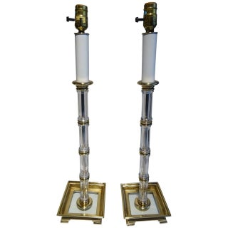 Crystal and Brass Topiary Lamps - A Pair