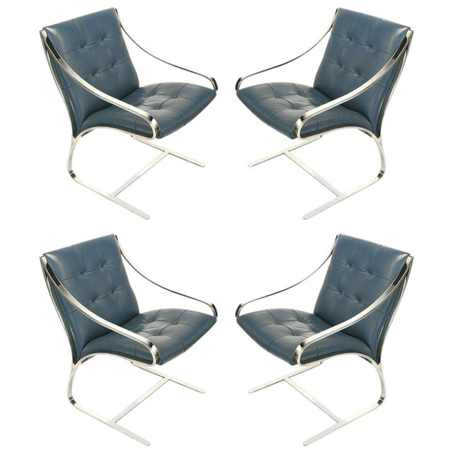 Four Bert England for Brueton Polished Steel & Cadet Blue Leather Lounge Chairs - Image 1 of 10