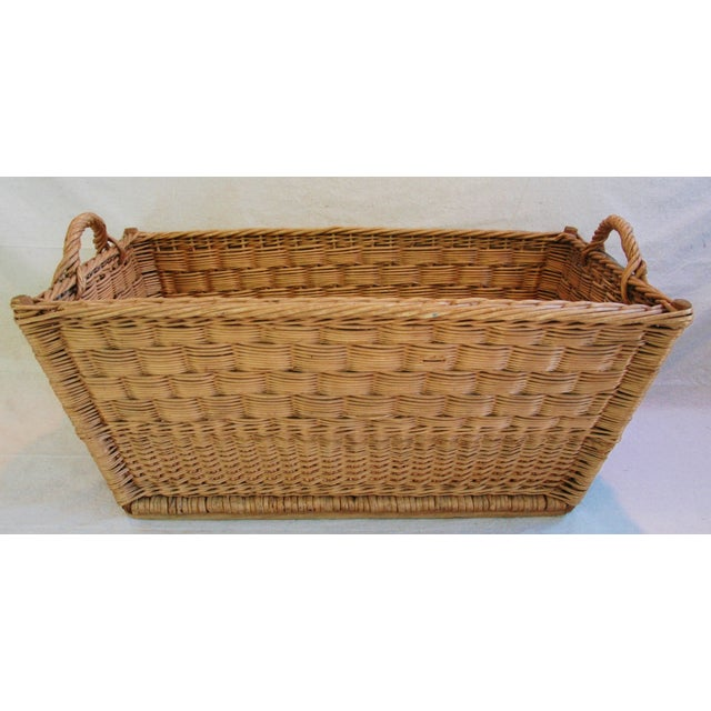 Vintage French Woven Willow Market Basket - Image 2 of 8