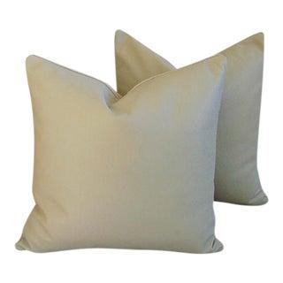 "20"" Custom Tailored Italian Sand Leather/Velvet Feather/Down Pillows - Pair"