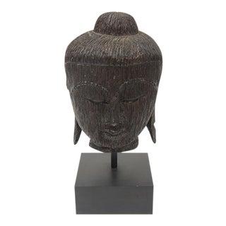 Vintage Black Buddha Carved Wood Sculpture