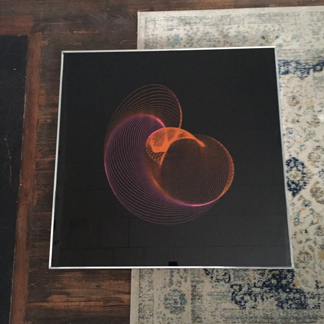 Image of Extra Large Mid-Century Modern Panton Era Space Age Atomic Abstract Spirograph Kidney Bean Op Art Chrome Frame