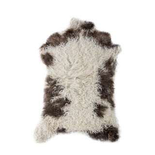 Handmade Black & White Sheepskin Rug - 2′ × 3′4″