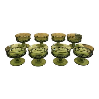 Mid-Century Modern Green King's Crown Champagne Coupes - Set of 8